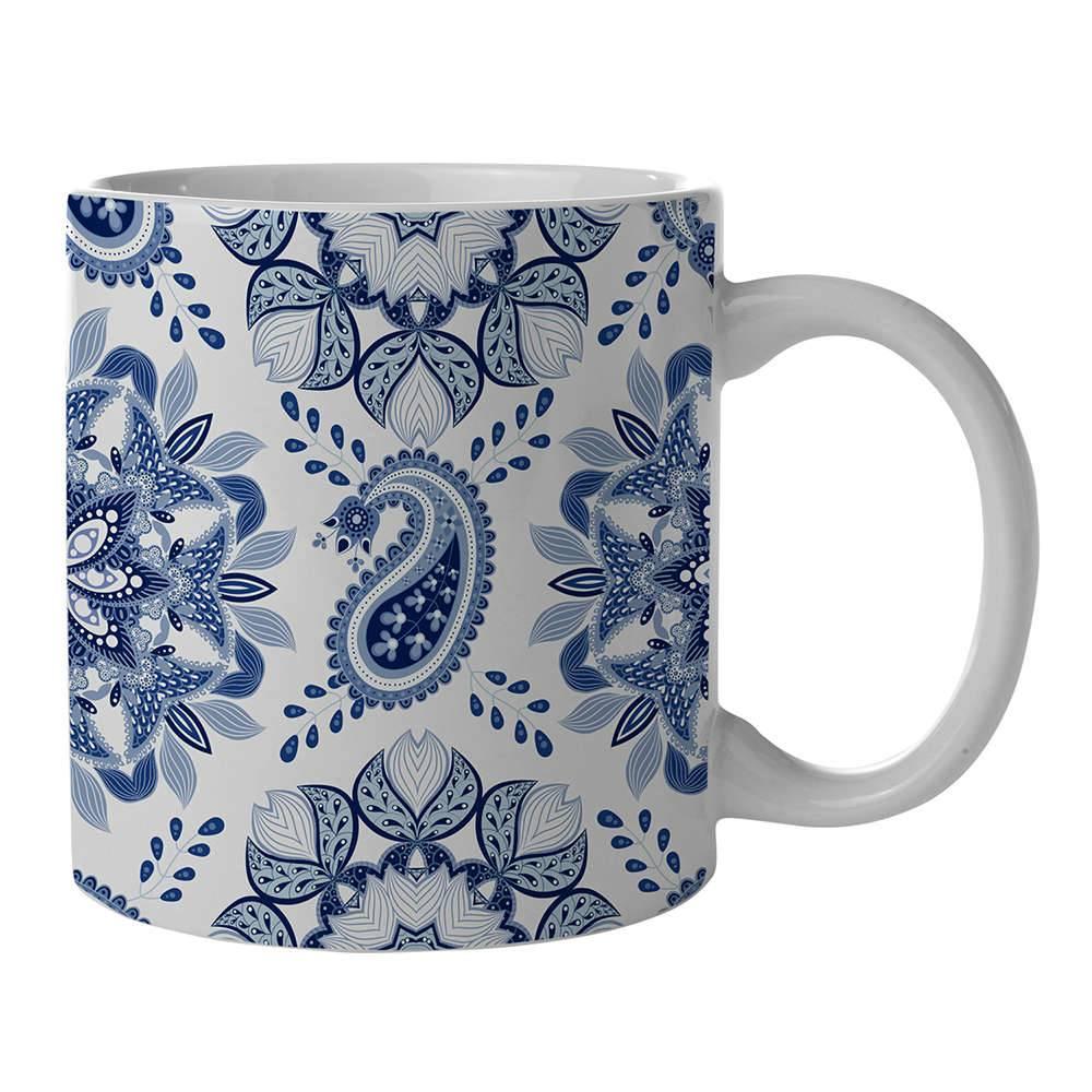 Caneca New Indigo Mandala Azul em Porcelana - 300 ml - Urban - 9,5x7,8 cm
