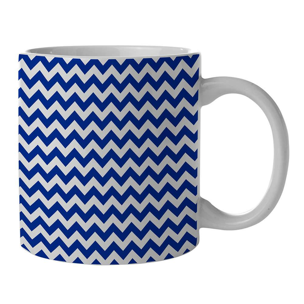 Caneca New Indigo Point Triangles Azul em Porcelana - 300 ml - Urban - 9,5x7,8 cm