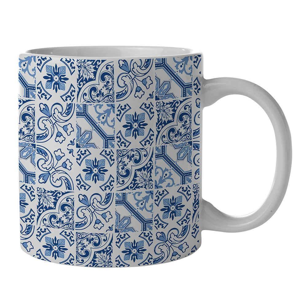 Caneca New Indigo Portuguese Tile Mix Azul em Porcelana - 300 ml - Urban - 9,5x7,8 cm