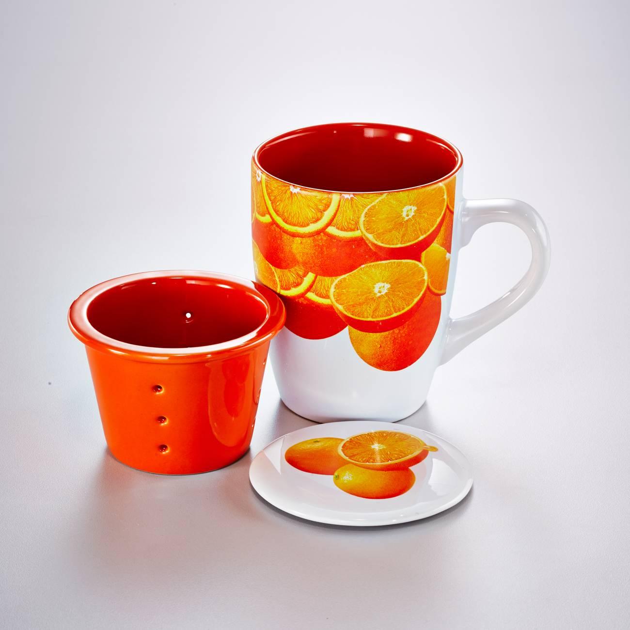 Caneca Estampa Laranjas com Infusor - 330 ml - em Porcelana - Bon Gourmet - 15x11 cm