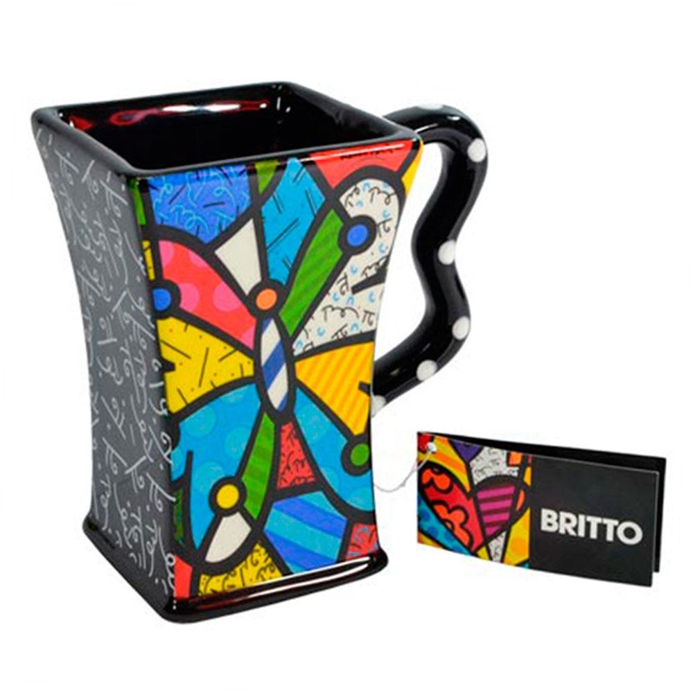 Caneca Preta Butterfly - Romero Britto - em Cerâmica - 13x12 cm