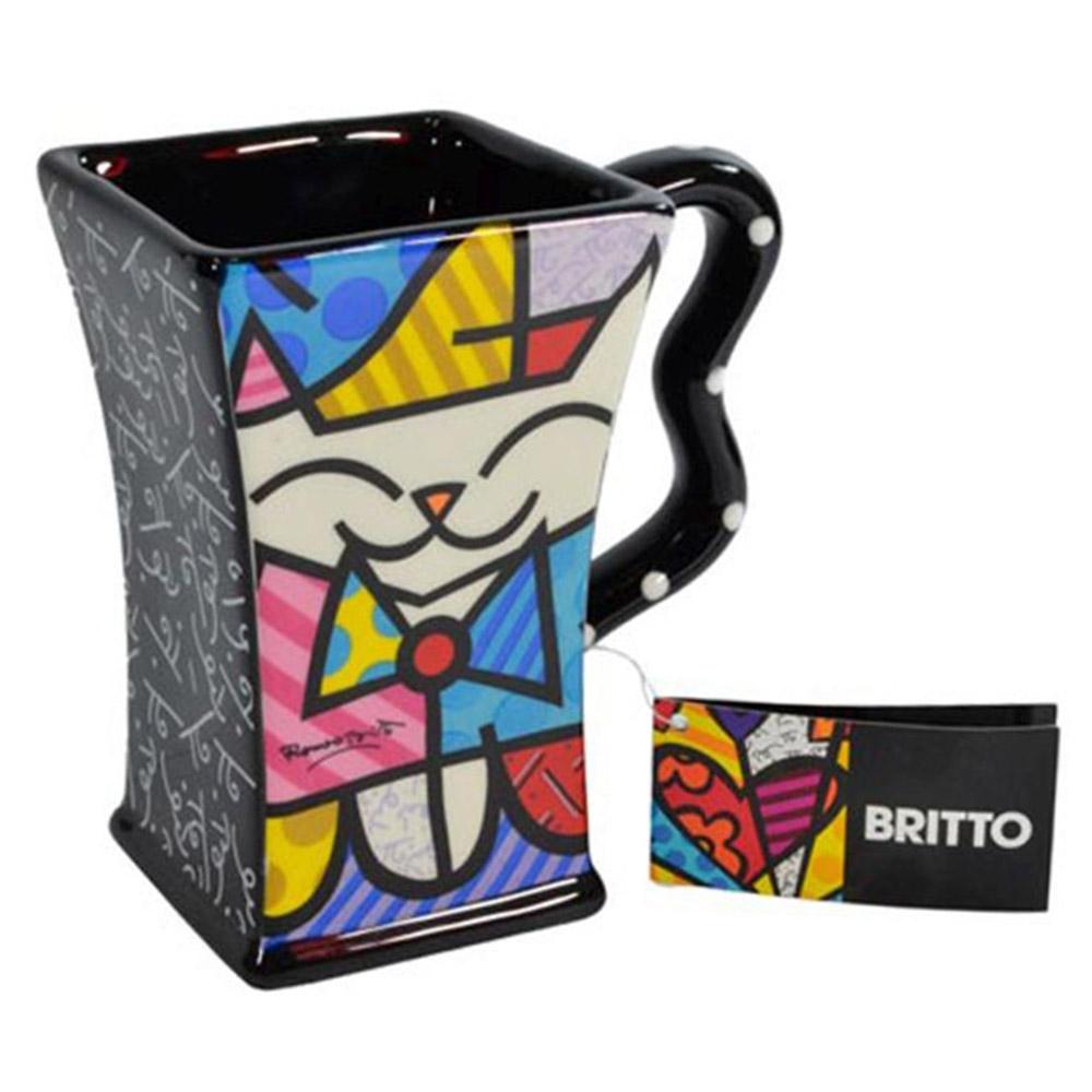 Caneca Preta Cat - Romero Britto - em Cerâmica - 13x12 cm