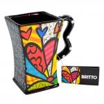Caneca Preta A New Day - Romero Britto - em Cerâmica - 13x12 cm