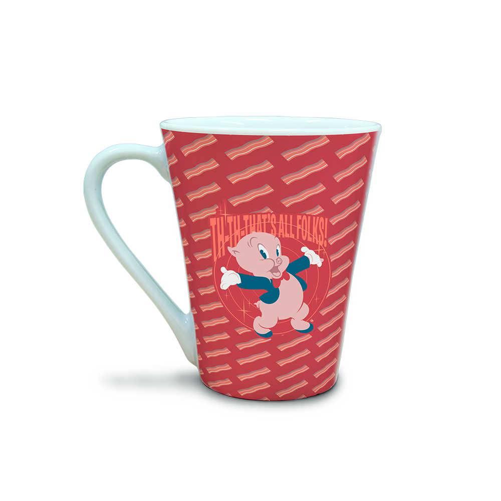 Caneca Tulipa Looney Tunes Pork Piggy Thats All Folks Vermelho 310 ml em Porcelana - 11,2x10,5 cm
