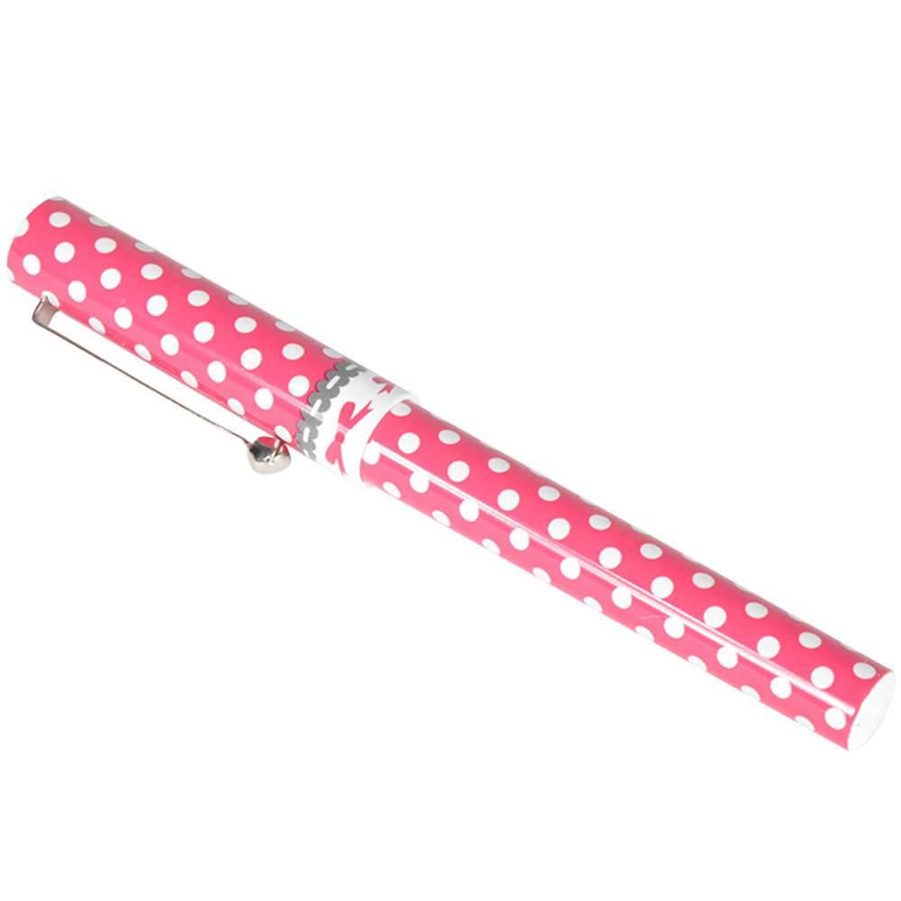 Caneta Dots Branco Fundo Pink - Urban - 13,1x8,1 cm