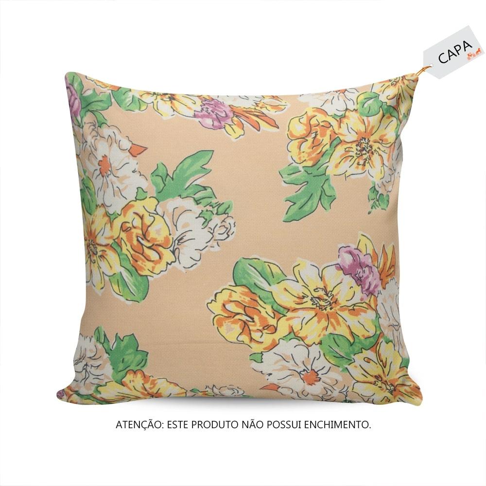 Capa para Almofada Adelia Floral Laranja em Algodão - 45x45 cm