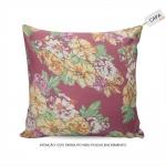 Capa para Almofada Adelia Floral Rosa em Algodão - 45x45 cm