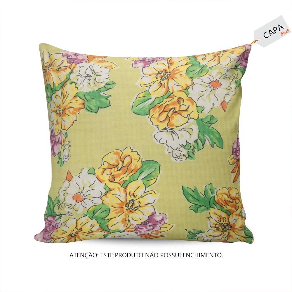 Capa para Almofada Adelia Floral Verde em Algodão - 45x45 cm