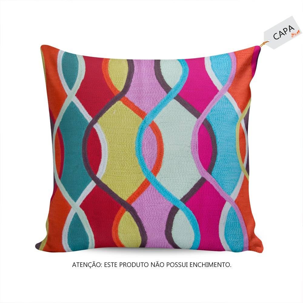 Capa para Almofada Alegrê Colorida em Algodão - 45x45 cm