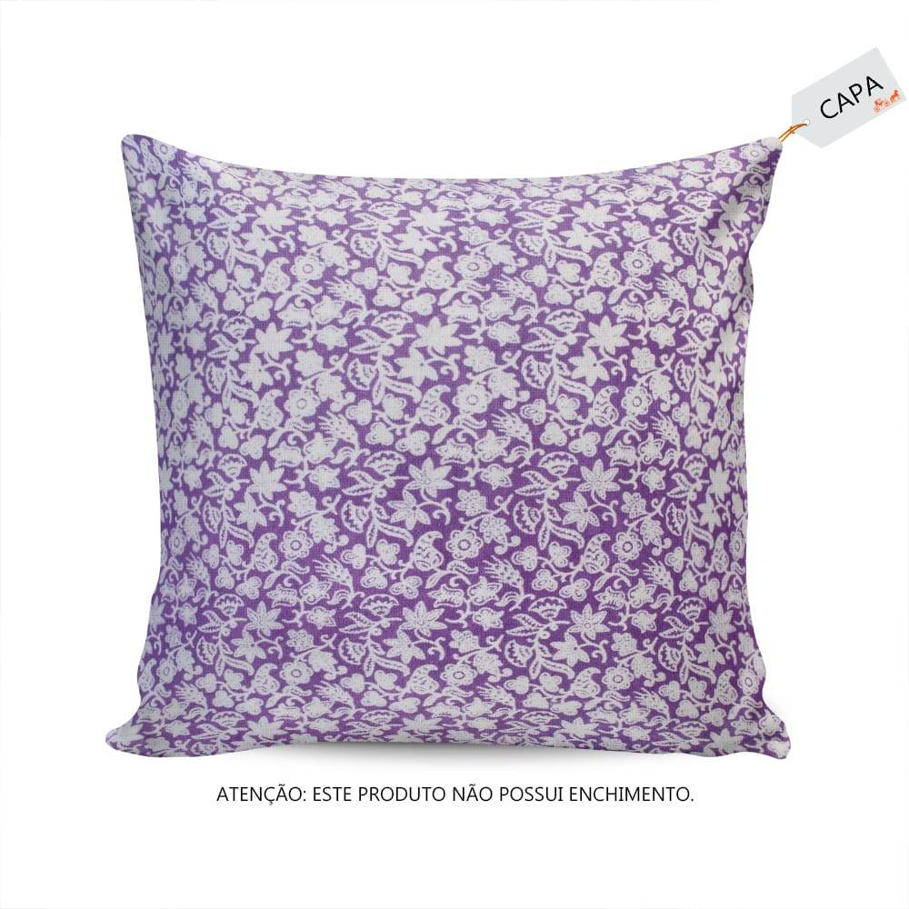 Capa para Almofada Alga Floral Roxo/Branco em Algodão - 45x45 cm