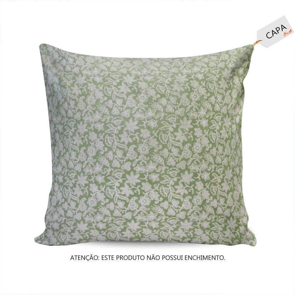 Capa para Almofada Alga Floral Verde/Branco em Algodão - 45x45 cm