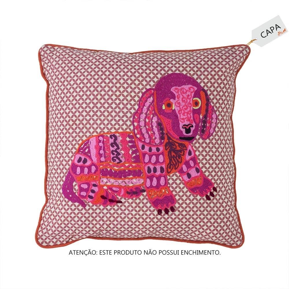 Capa para Almofada Animal Dog Rosa Pink em Algodão - 45x45 cm