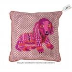 Capa para Almofada Animal Dog Rosa em Algodão - 45x45 cm