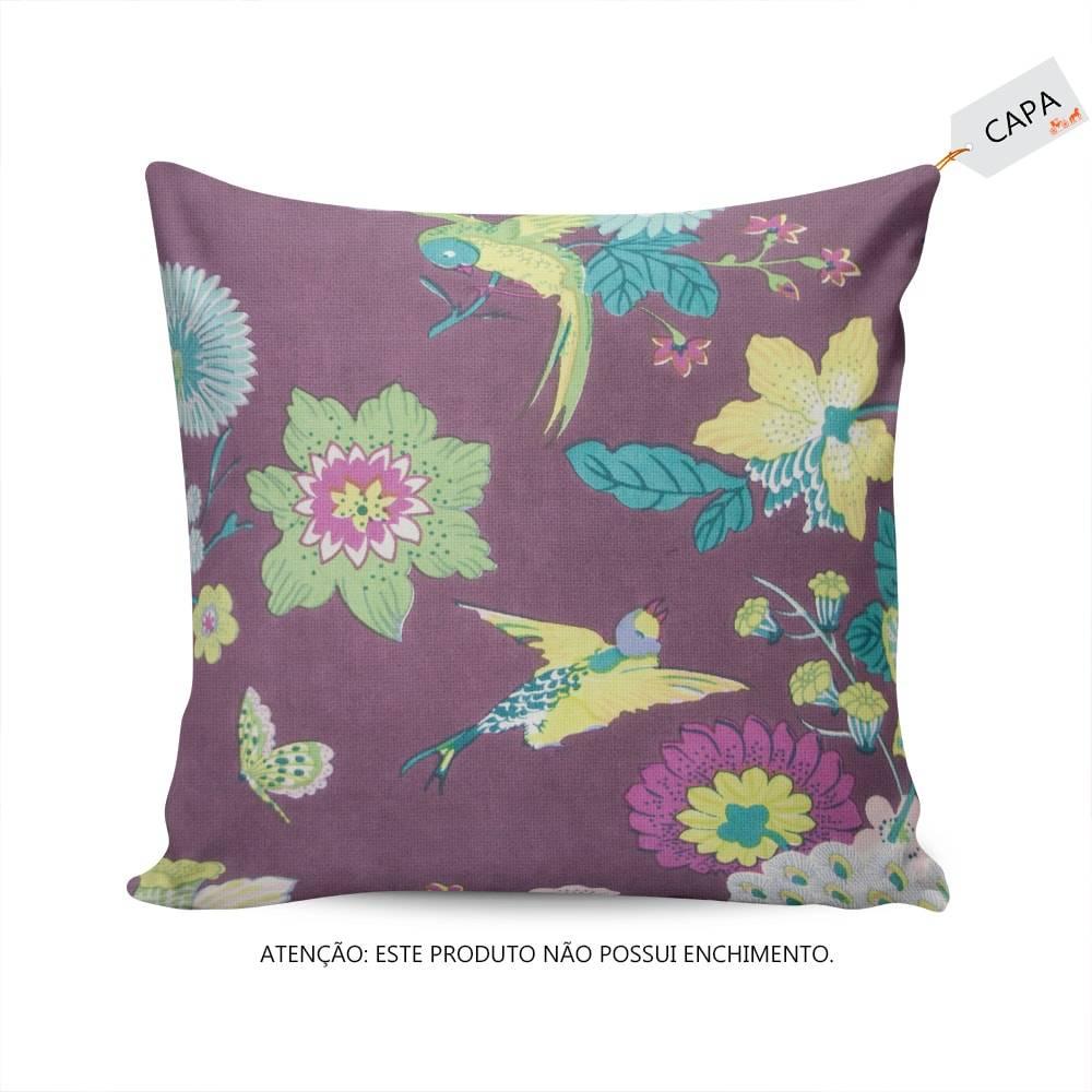 Capa para Almofada Athena Flores e Pássaros Roxa em Algodão - 45x45 cm