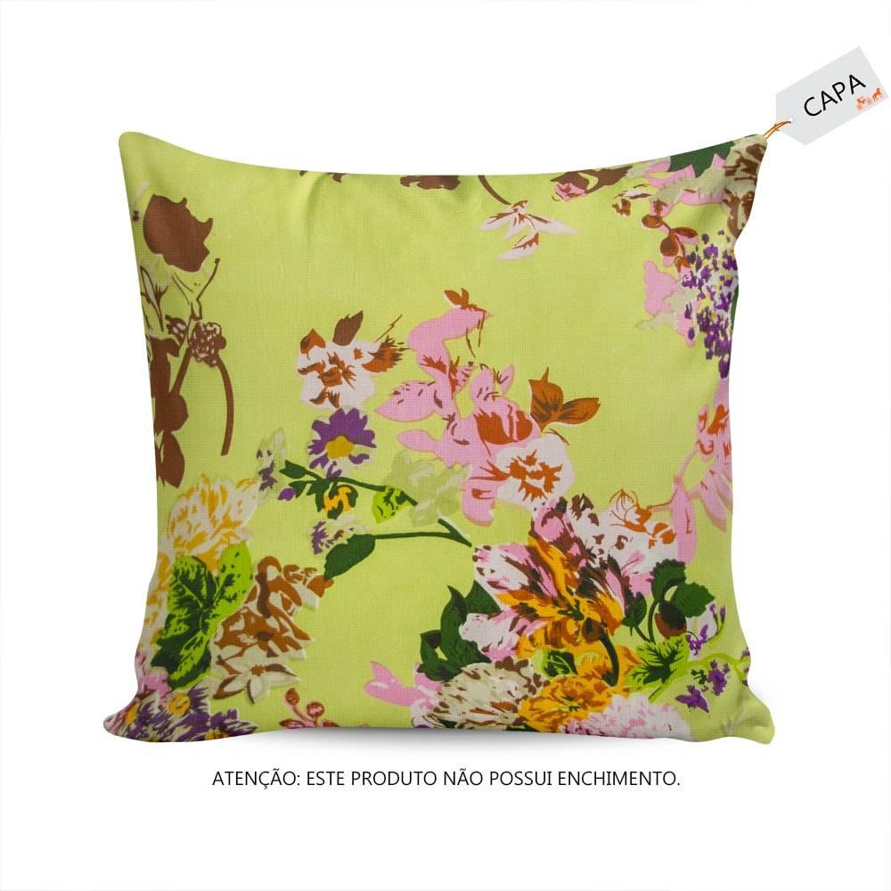 Capa para Almofada Azaleia Floral Verde em Algodão - 45x45 cm