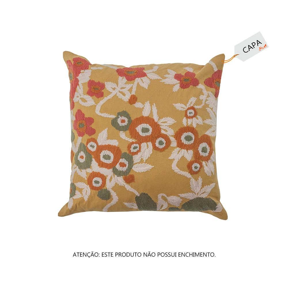 Capa para Almofada Bead Bubble Mostarda em Algodão - 45x45 cm