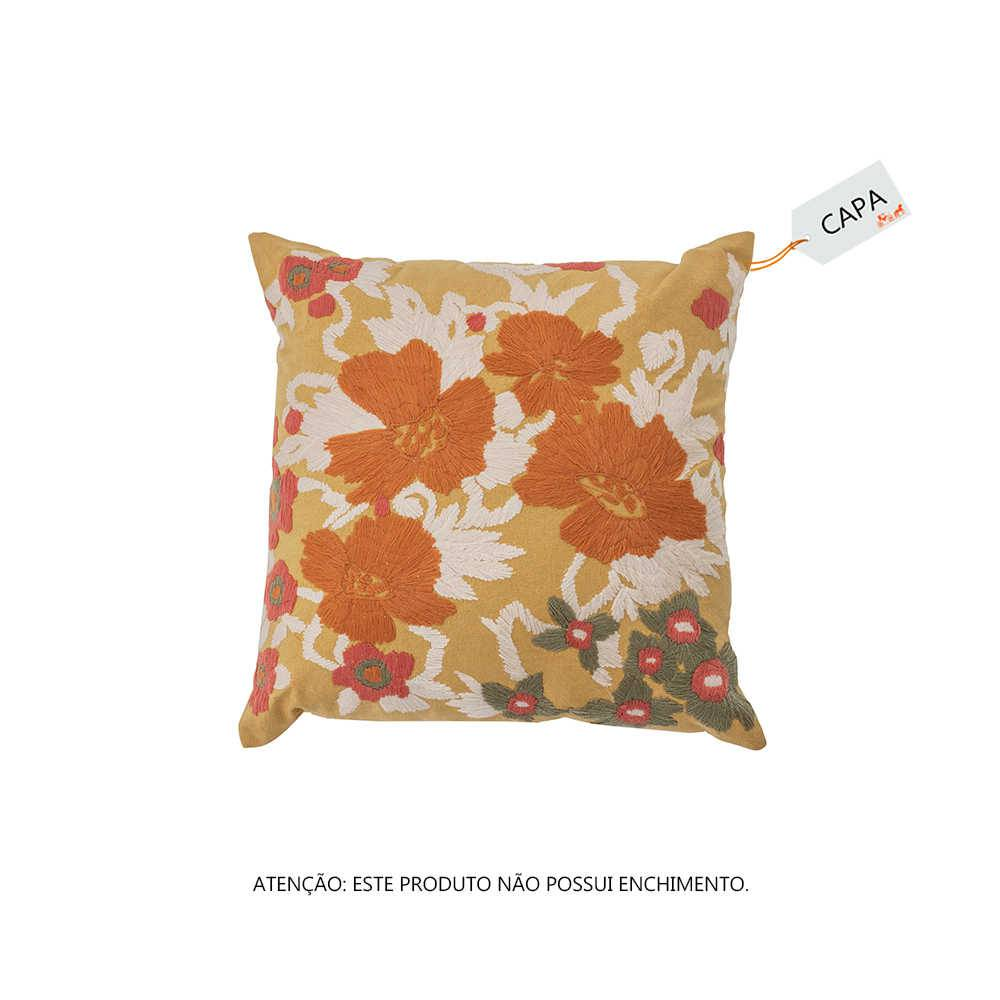 Capa para Almofada Bead Flower Mostarda em Algodão - 45x45 cm