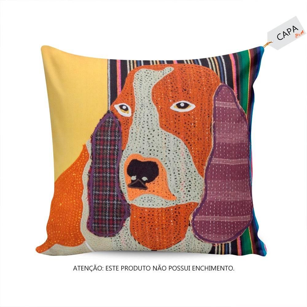 Capa para Almofada Bom Cachorro Multicolorida em Algodão - 45x45 cm