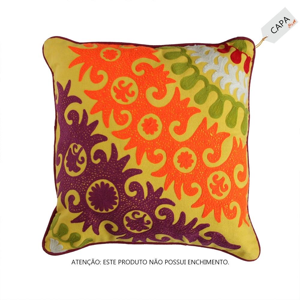Capa para Almofada Colori Amarela em Algodão - 45x45 cm