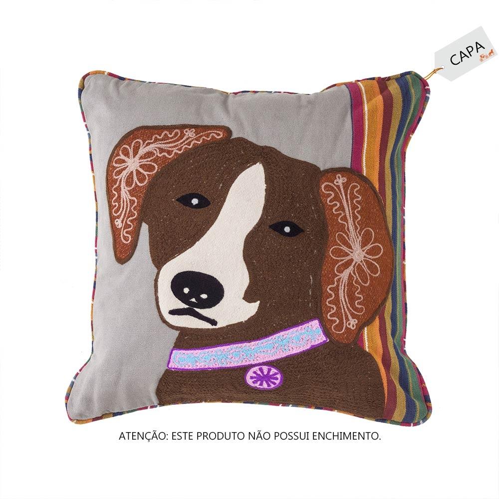 Capa para Almofada Cute Dog Cinza em Algodão - 45x45 cm