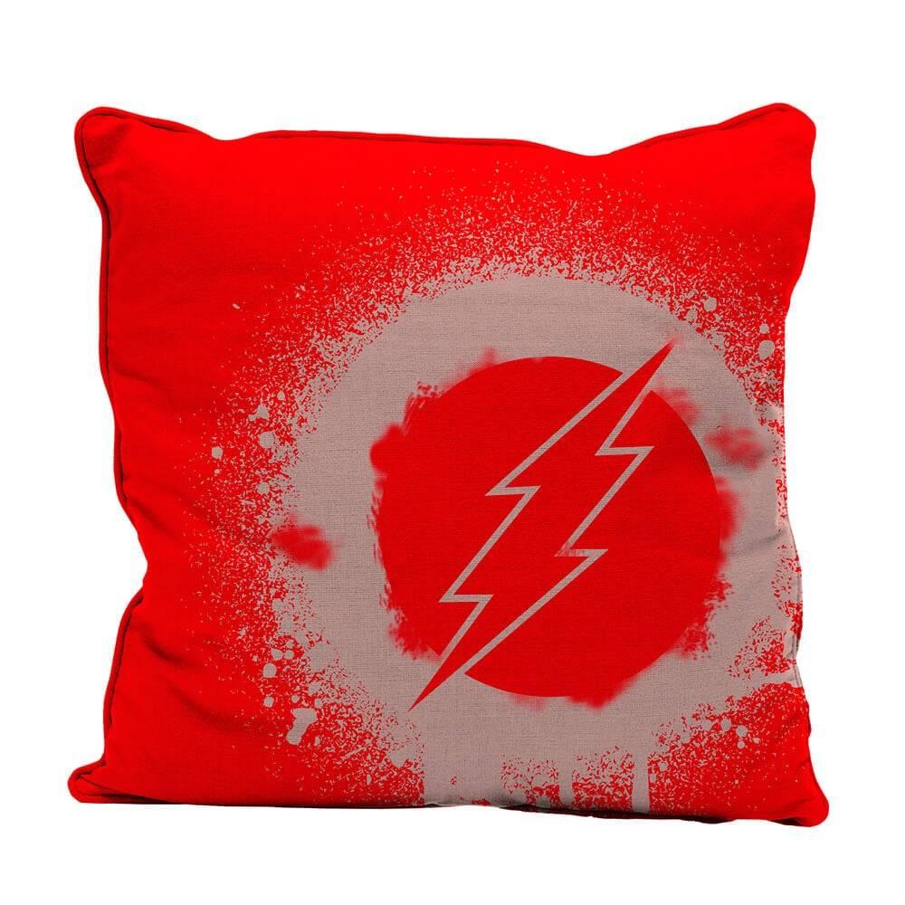 Capa para Almofada DC Comics Flash Logo Grafit Art Vermelho em Poliester - Urban - 45x45 cm