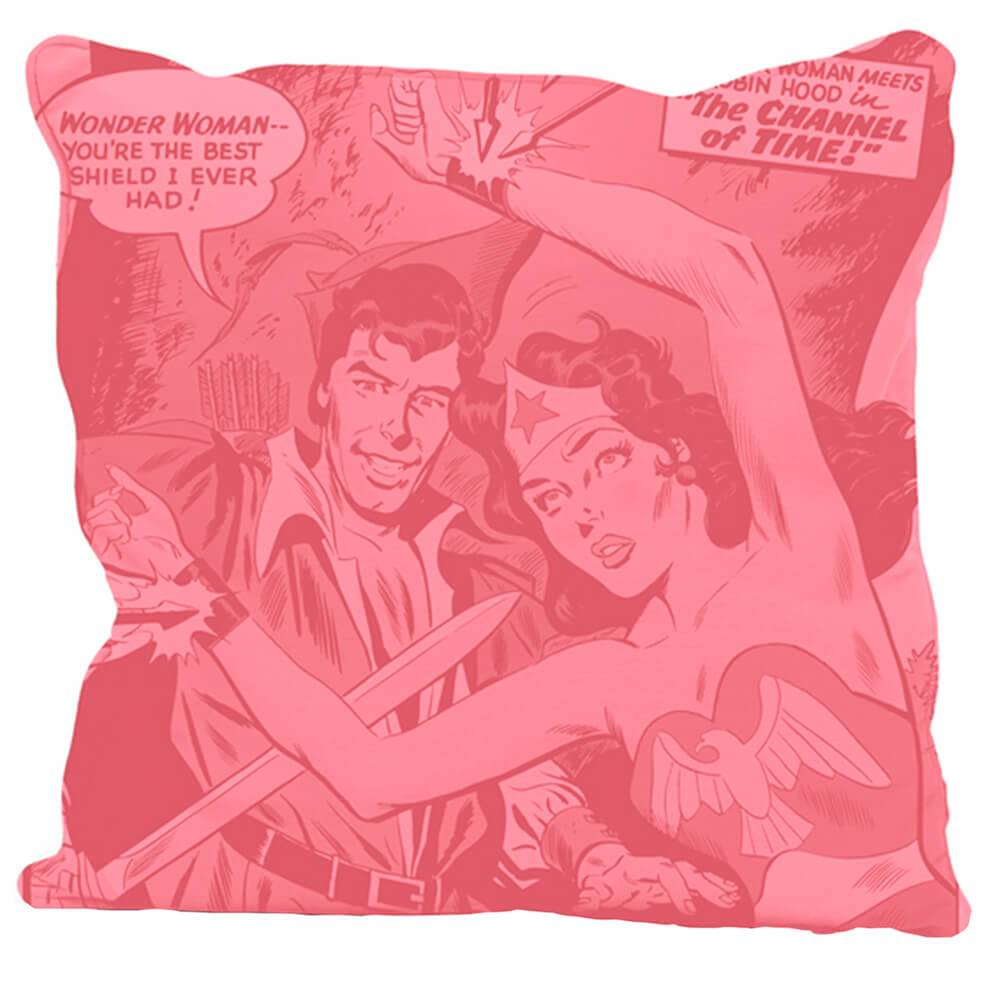 Capa para Almofada DC Comics Wonder Woman Retro Rosa em Poliester - Urban - 45x45 cm