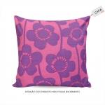 Capa para Almofada Delicate Floral Roxo/Rosa em Algodão