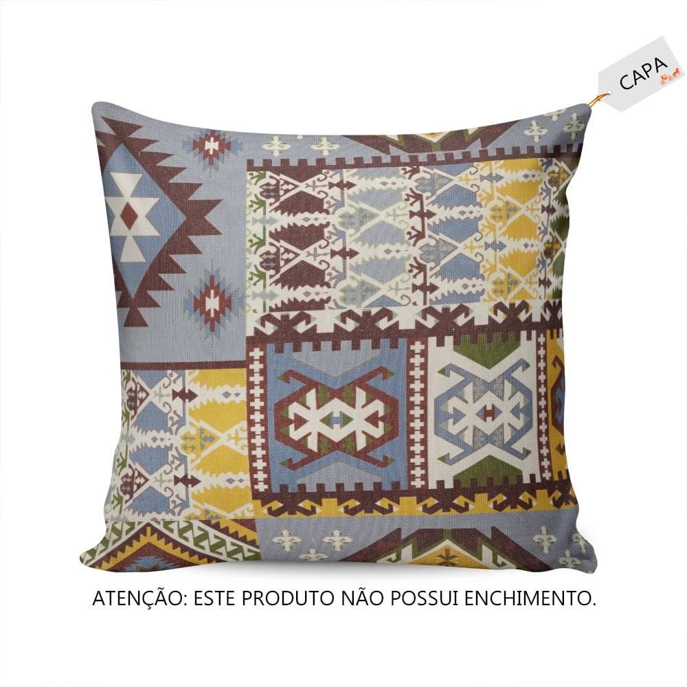 Capa Para Almofada Desenhos Coloridos Fundo Azul em Tecido - 45x45 cm