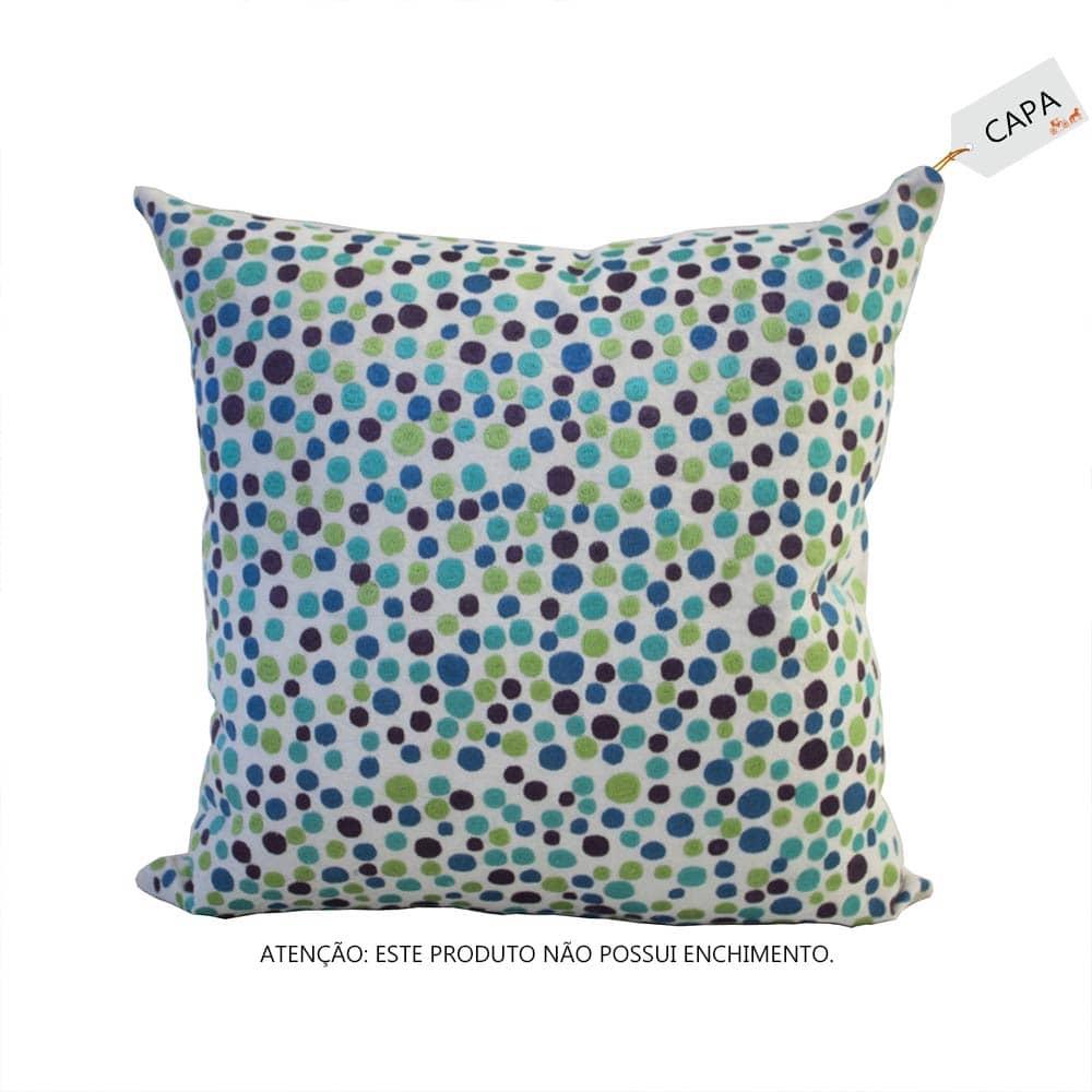 Capa para Almofada Dots Azul em Algodão - 45x45 cm