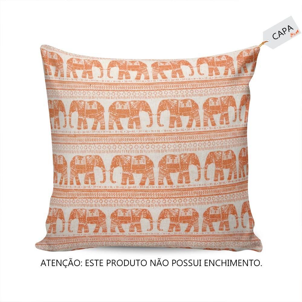 Capa Para Almofada Elefante Laranja em Tecido - 45x45 cm