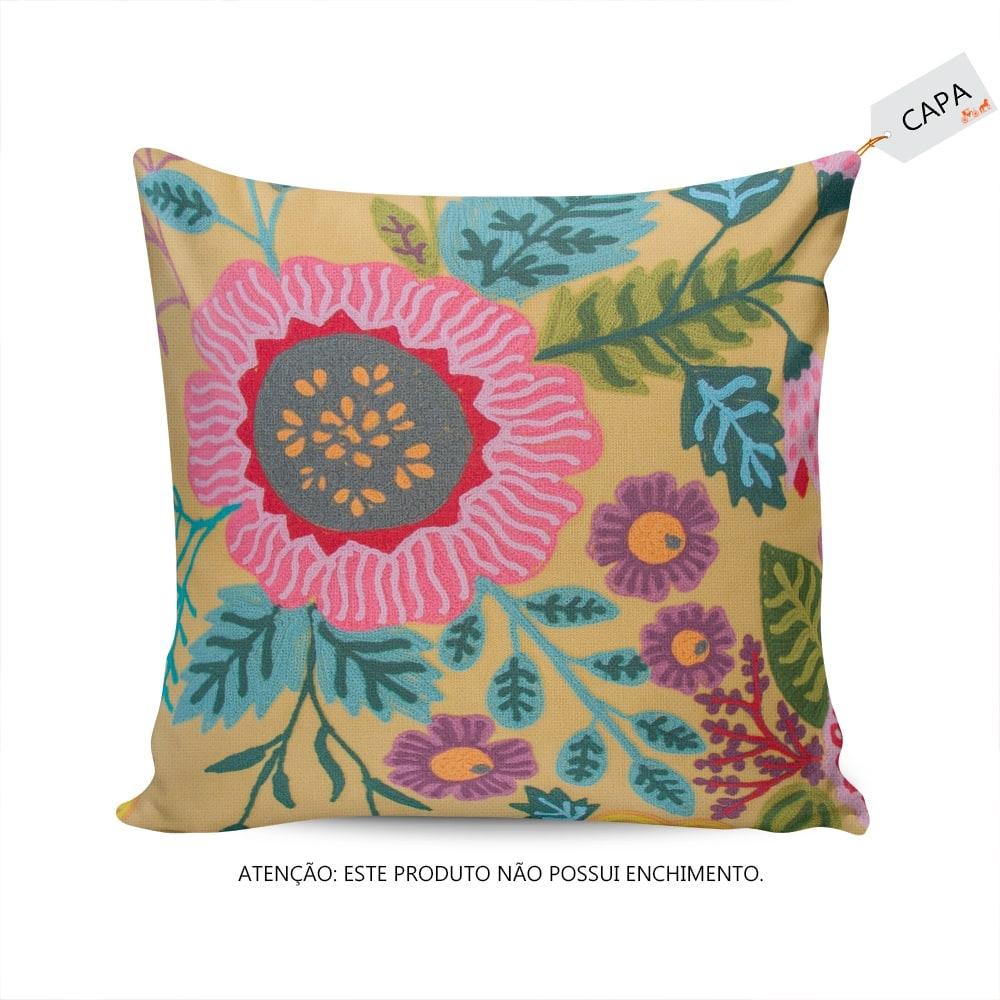 Capa para Almofada Flora Tuly Amarela em Algodão - 45x45 cm