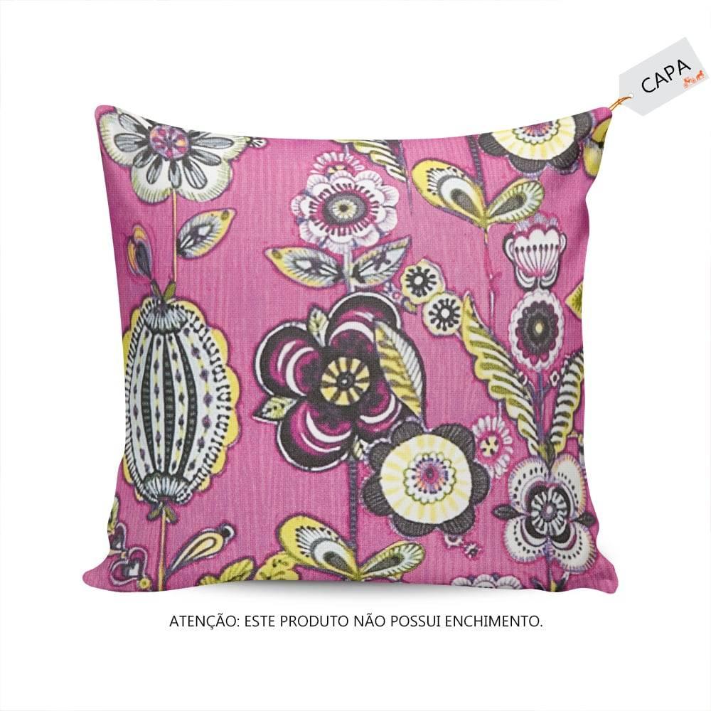 Capa para Almofada Floral Rosa em Camurça - 45x45 cm