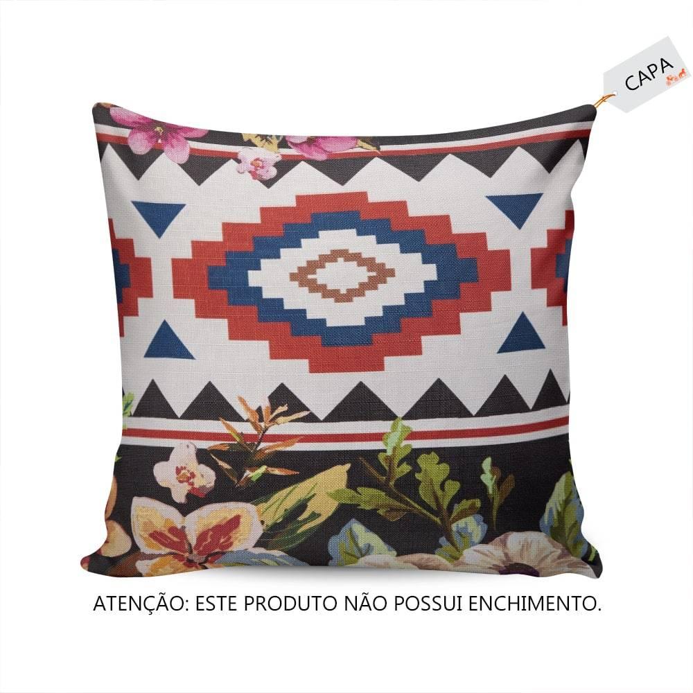 6cda64872 Capa Para Almofada Flores Coloridas Fundo Preto em Tecido - Compre ...