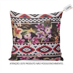 Capa Para Almofada Flores Coloridas em Tecido - 45x45 cm