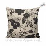 Capa Para Almofada Flores Pretas Fundo Bege em Tecido - 45x45 cm