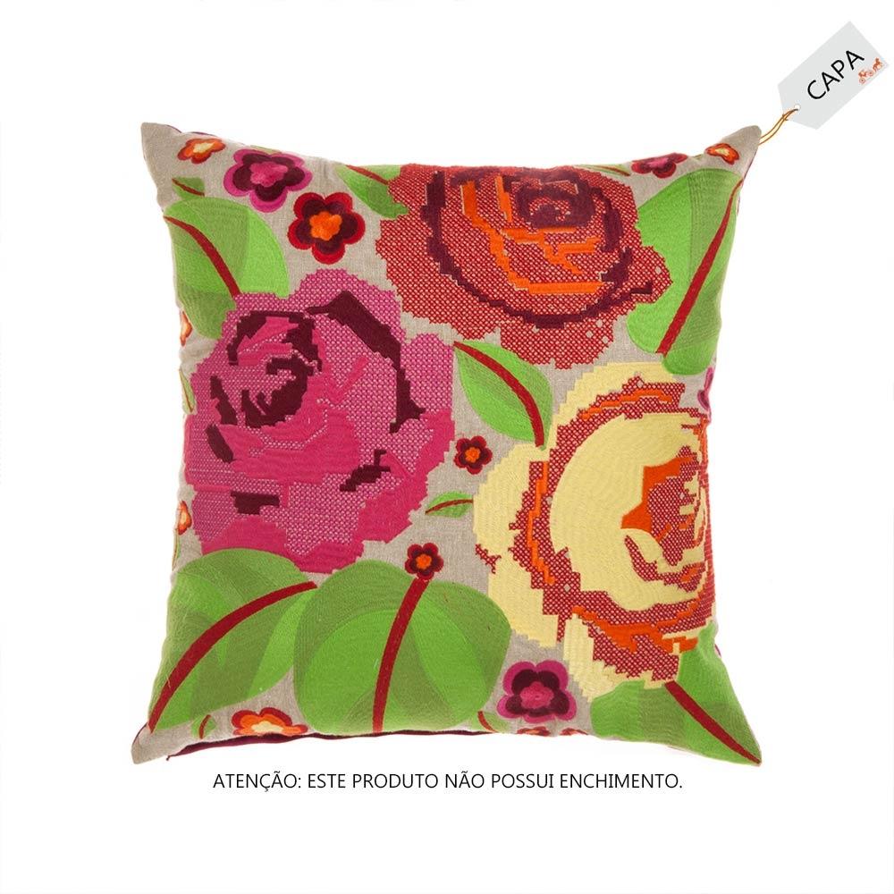 Capa para Almofada Florita Colorida em Algodão - 45x45 cm