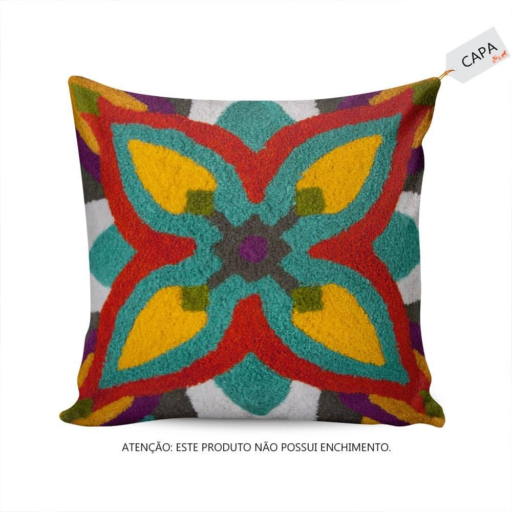 Capa para Almofada Flower Funny Colorida em Algodão - 45x45 cm