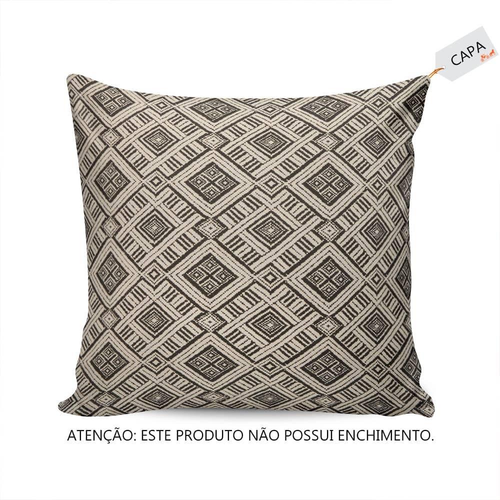 Capa Para Almofada Fundo Bege Quadrados Preto em Tecido - 45x45 cm