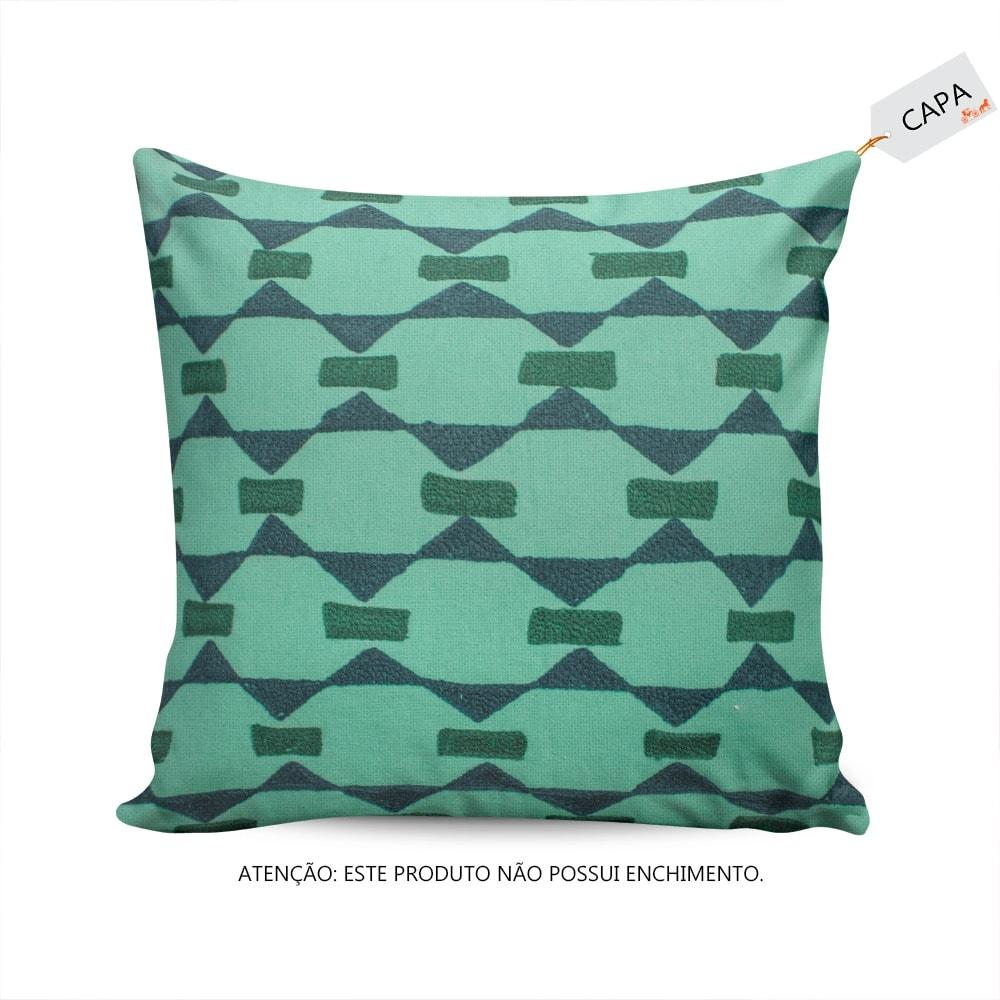 Capa para Almofada Galaxy Triangle Verde/Bege em Algodão - 45x45 cm