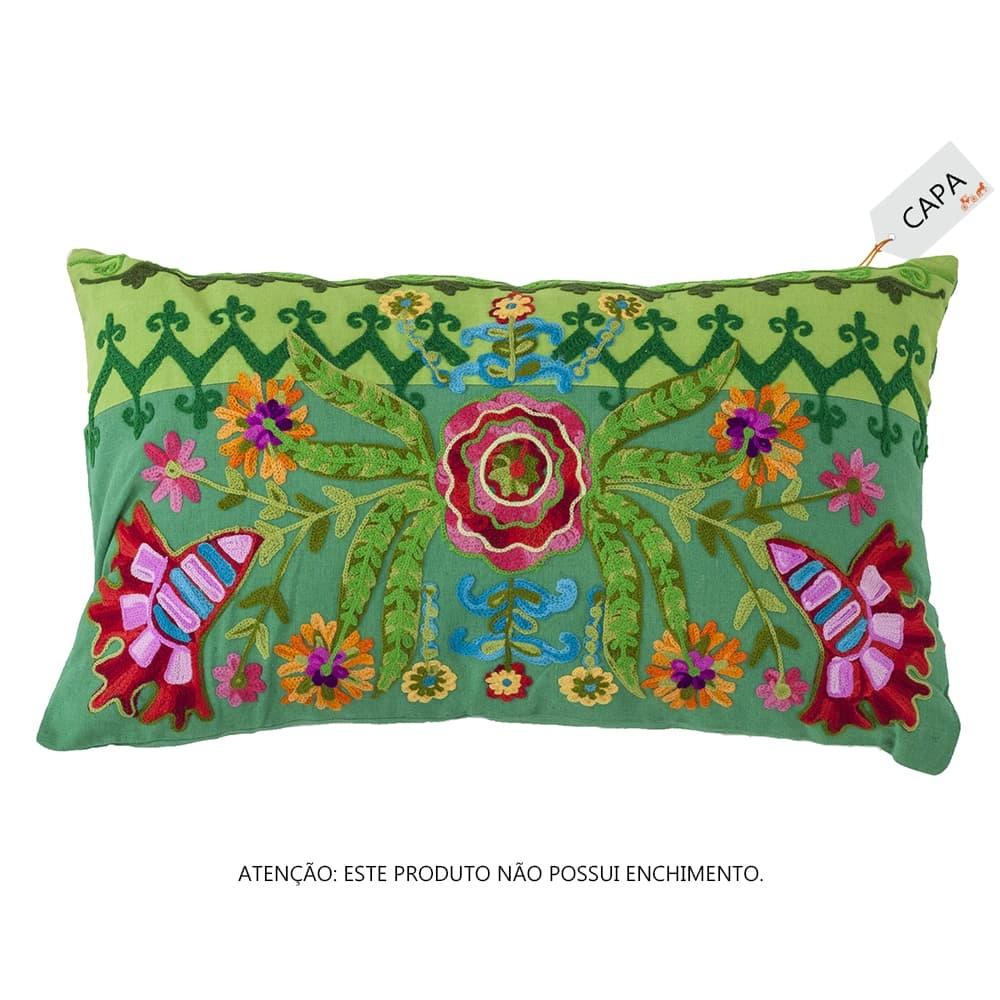 Capa para Almofada Gardenia Verde em Algodão - 50x30 cm