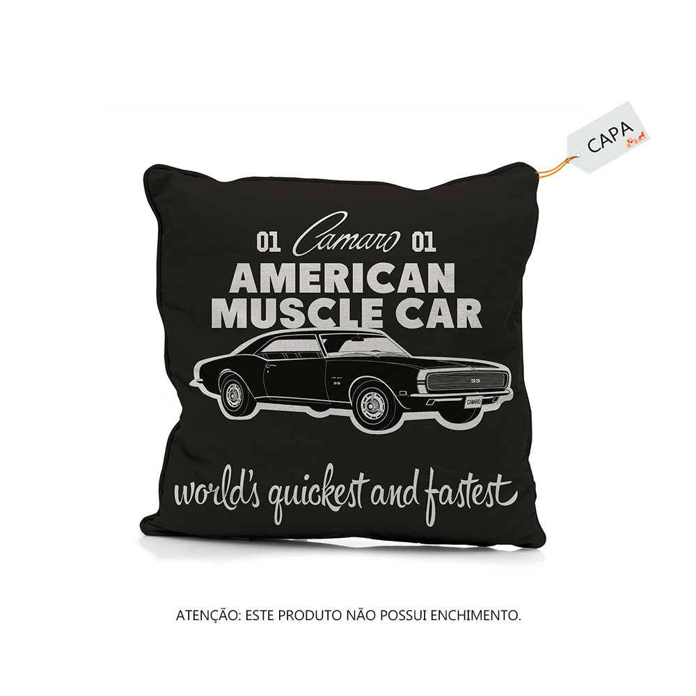 Capa de Almofada GM American Muscle Car Preto em Poliéster - 45x45 cm