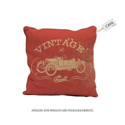 Capa de Almofada GM Vintage Car Jalopy Vermelho em Poliéster