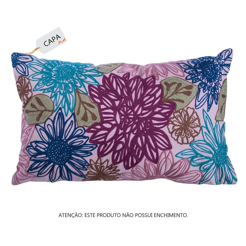 Capa para Almofada Hanna Floral Colorida em Algodão - 50x30 cm