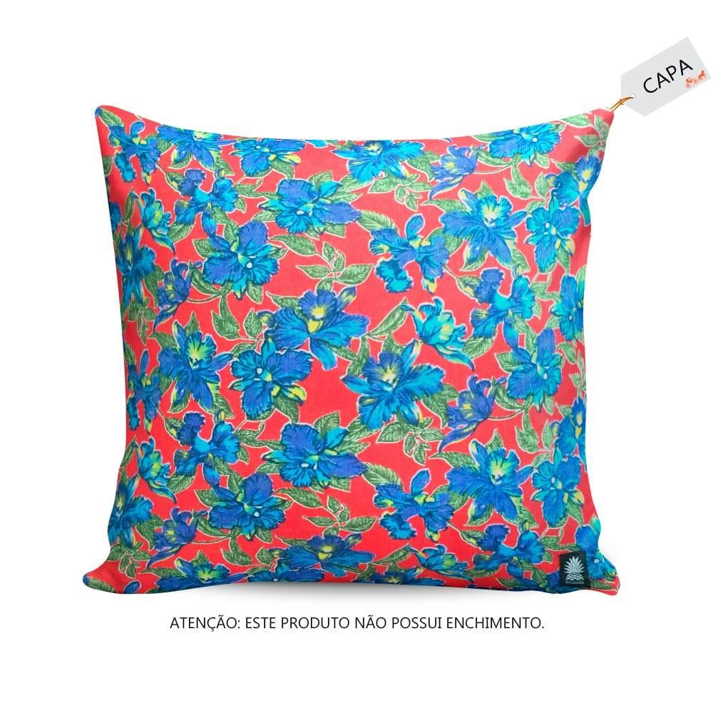 Capa para Almofada Hibiscos da Síria Azul em Algodão e Sarja - 45x45 cm