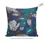 Capa para Almofada Julie Floral Azul em Algodão - 45x45 cm