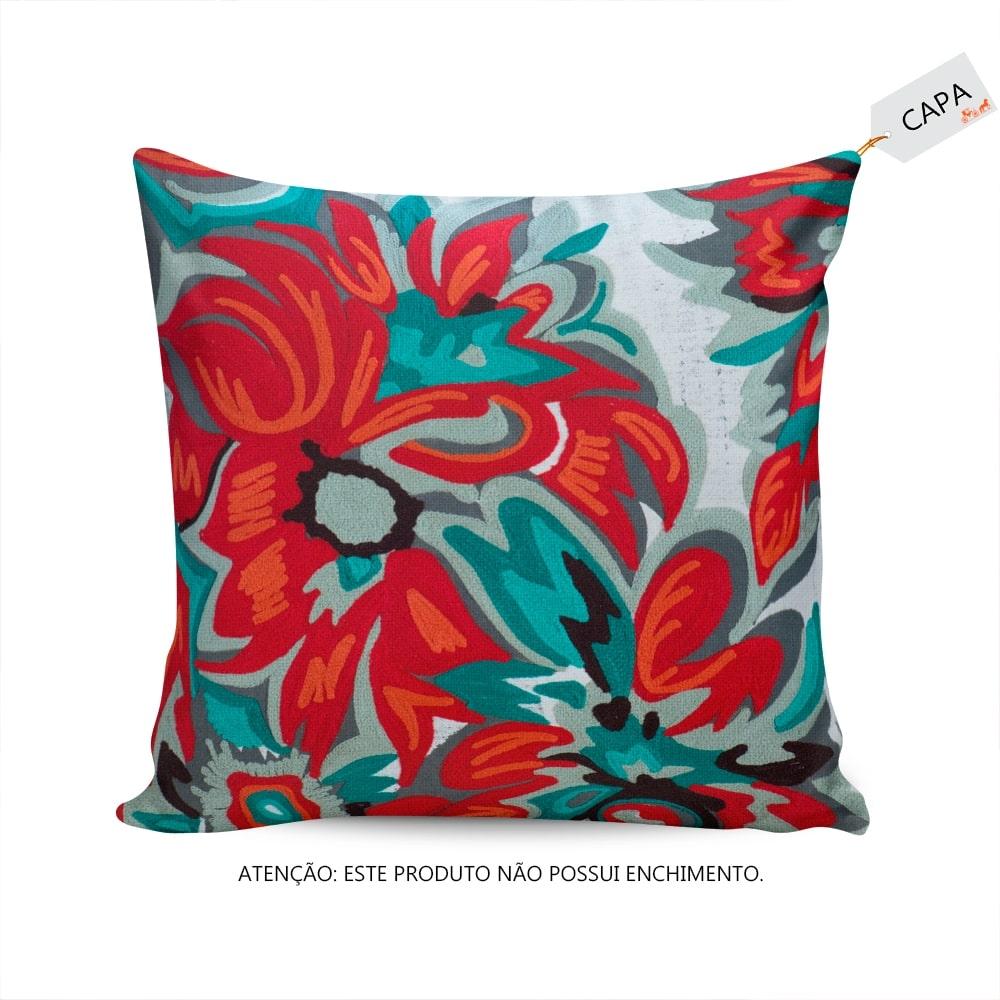 Capa para Almofada Julie Floral Colorida em Algodão - 45x45 cm