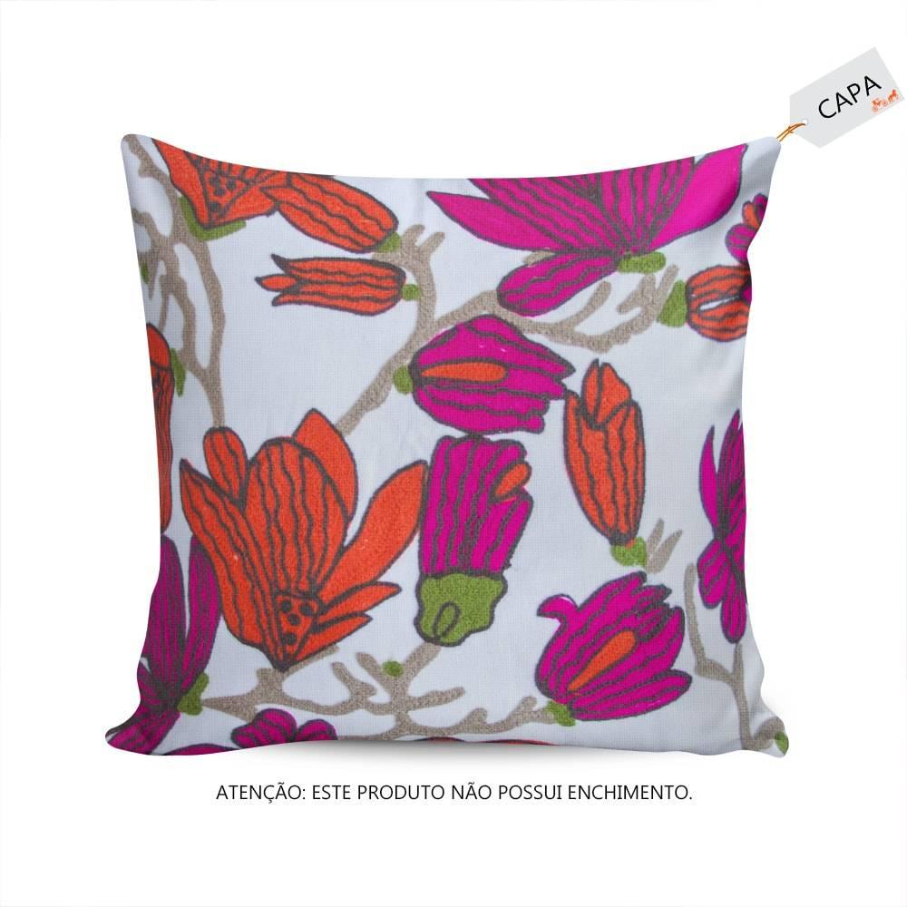 Capa para Almofada Julie Floral Colorido em Algodão - 45x45 cm