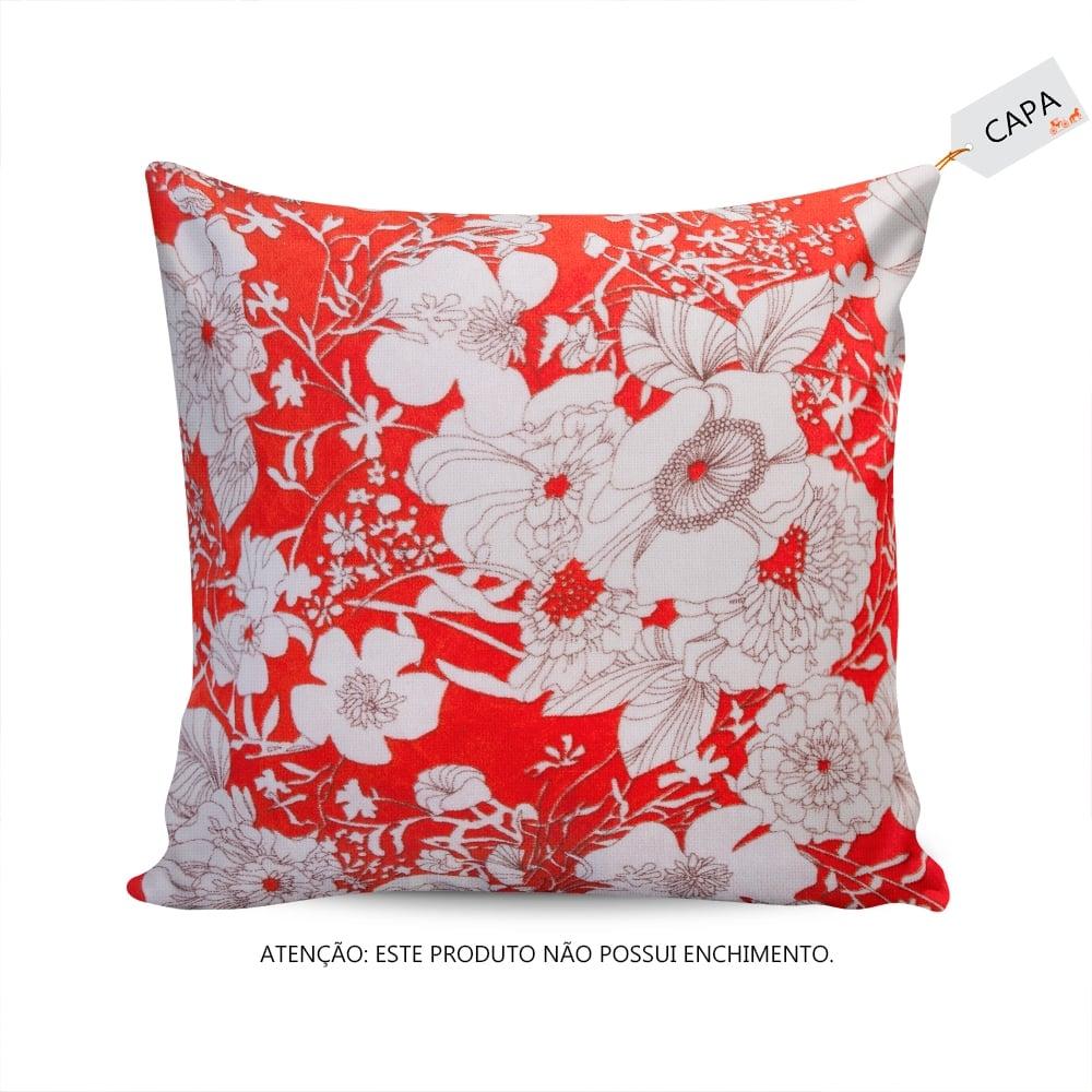 Capa para Almofada Juliette Floral Laranja/Branco em Algodão - 45x45 cm