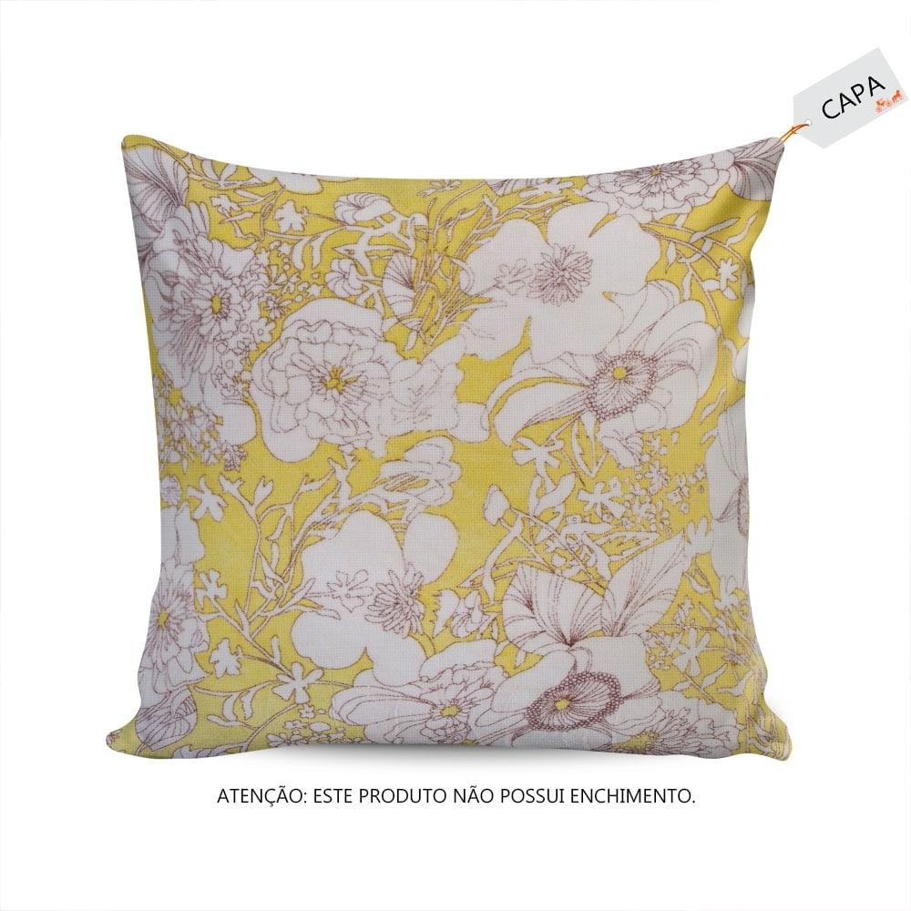 Capa para Almofada Juliette Floral Verde/Branco em Algodão - 45x45 cm