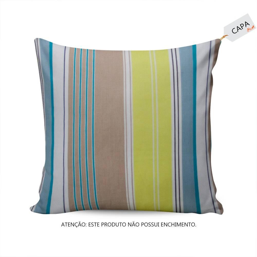 Capa para Almofada Karmin Listras Coloridas  em Algodão - 45x45 cm